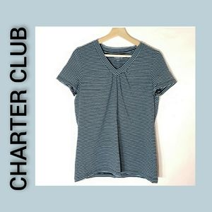 Charter Club Striped Short Sleeve Vneck Top